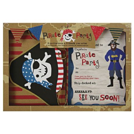 Pirate Birthday Party - Pack of 8 Invites and 8 Thank You Cards with Envelopes